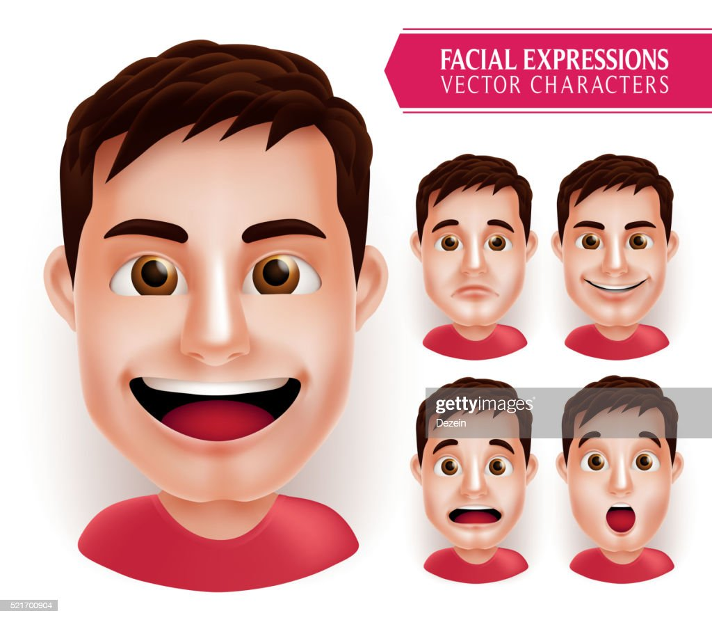 Man Head Emotions in 3D Realistic with Different Facial Expression