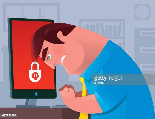 man heading on monitor - agression stock illustrations, clip art, cartoons, & icons