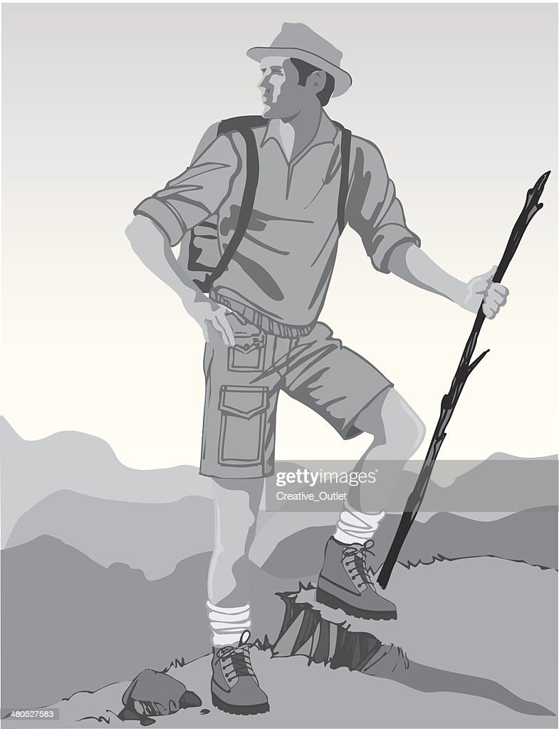 Man Hiking : Vector Art