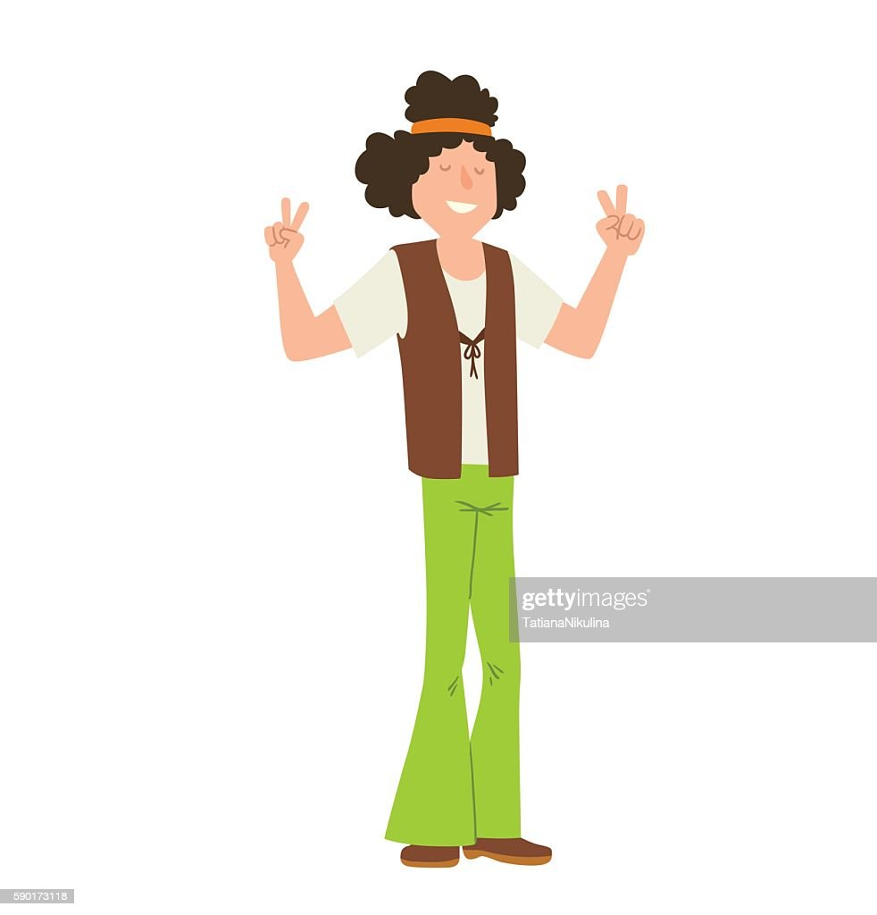 Man hippie with curly black hair