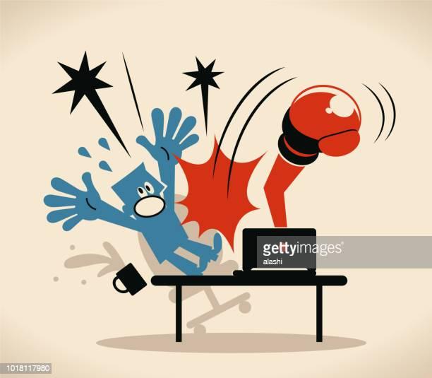 ilustrações de stock, clip art, desenhos animados e ícones de man hit by boxing glove from laptop - cyberbullying