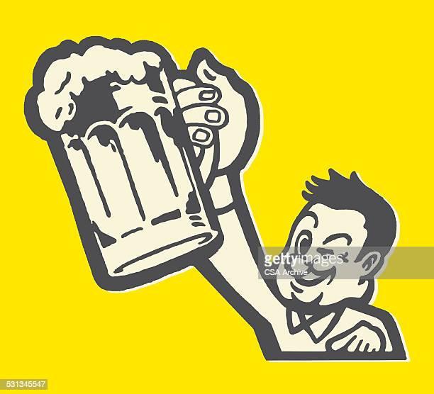 man hoisting beer mug and winking - stag night stock illustrations, clip art, cartoons, & icons