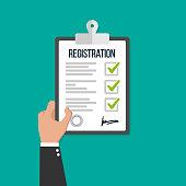 Man hold registration clipboard flat icon