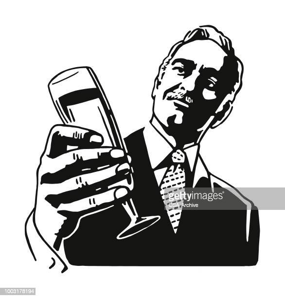 man holding a glass - only men stock illustrations, clip art, cartoons, & icons