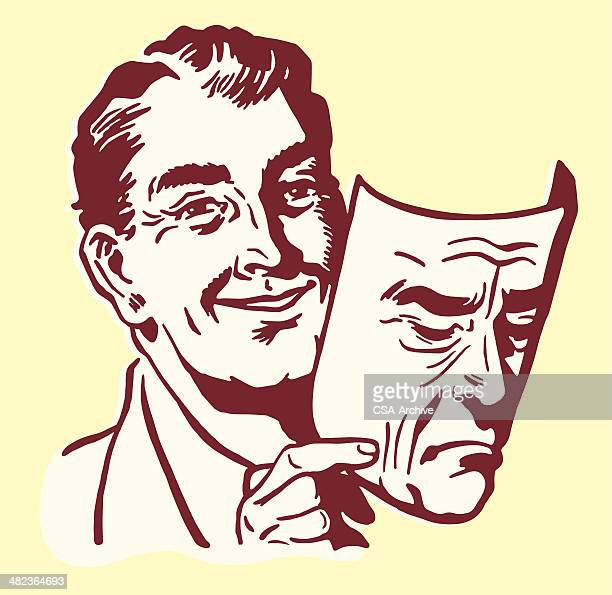 man holding a human mask - mask disguise stock illustrations