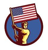 Man holding american flag patriotism nationalism vector illustration