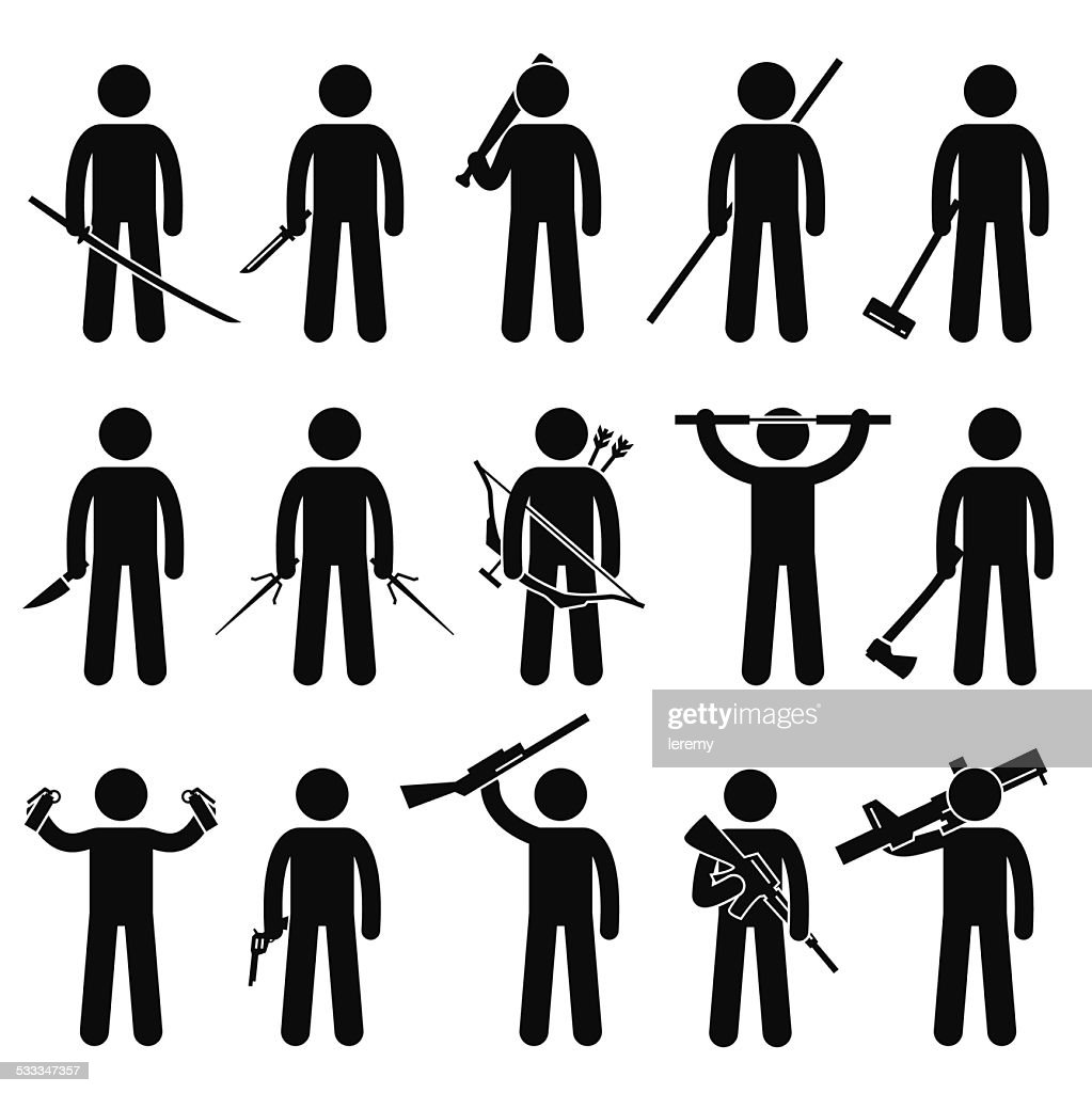 Man Holding and Using Weapons Stick Figure Pictogram Icons