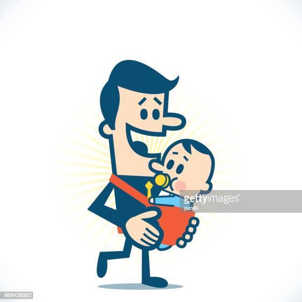 赤ちゃん持つ男性
