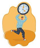 Man holding big digital clock and running.
