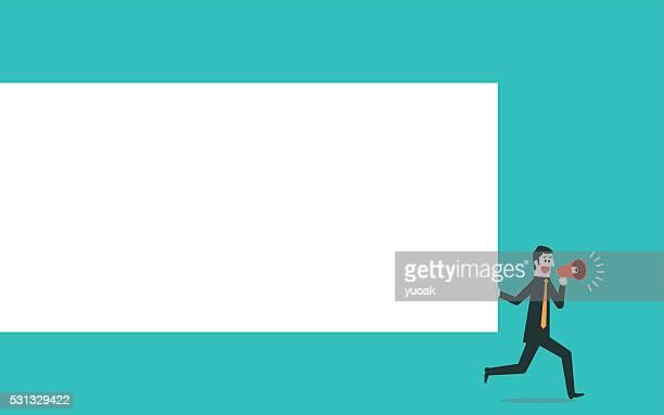 man holding blank board - holding stock illustrations, clip art, cartoons, & icons