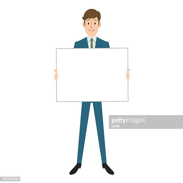ilustrações, clipart, desenhos animados e ícones de homem segurando em branco, bordo - papelão papel