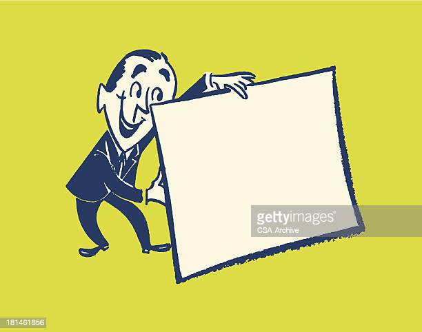 空の看板を持つ男性 - キッチュ点のイラスト素材/クリップアート素材/マンガ素材/アイコン素材