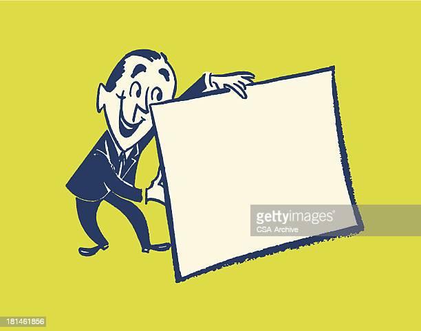 man holding blank sign - salesman stock illustrations