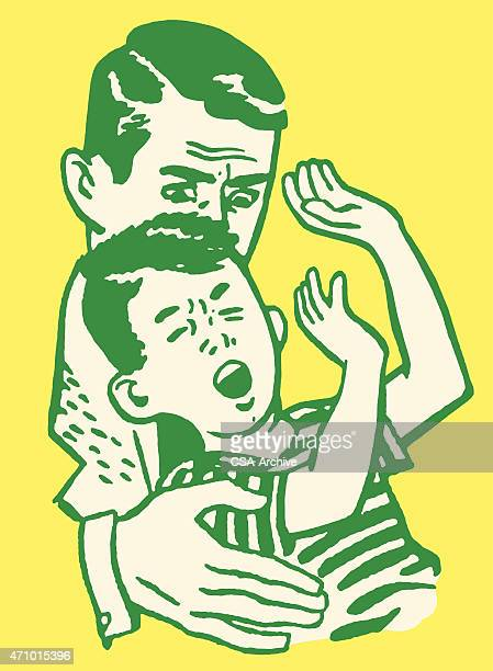 Man Holding Boy Having a Tantrum