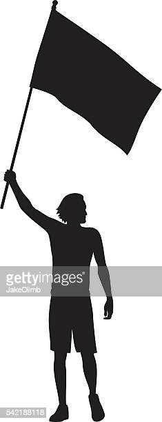 man holding flag silhouette - holding stock illustrations, clip art, cartoons, & icons
