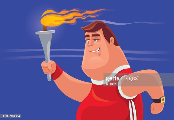man holding flaming torch and running - sport torch stock illustrations, clip art, cartoons, & icons