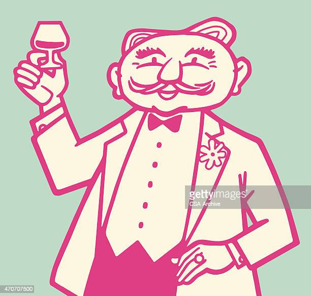 Man Holding Glass and Toasting