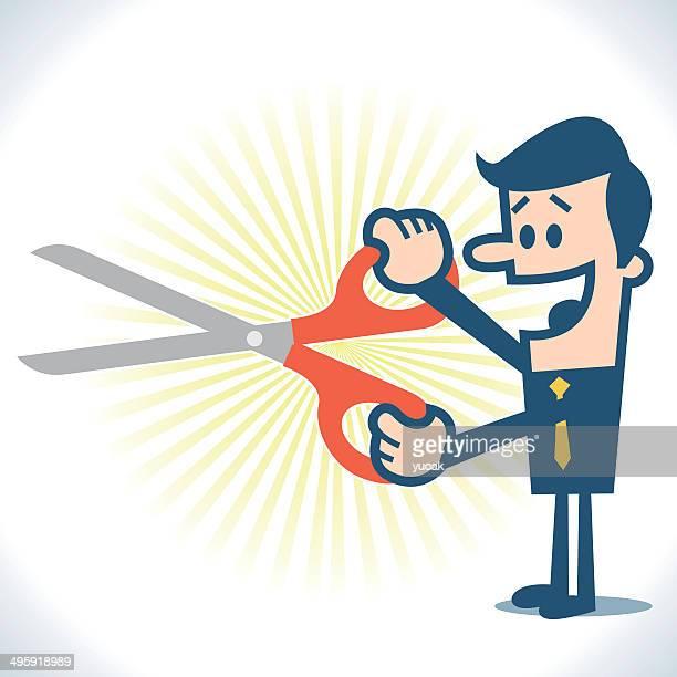 illustrations, cliparts, dessins animés et icônes de homme tenant les ciseaux - coiffeur humour