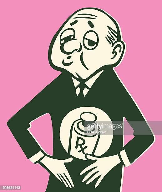 man holding prescription bottle to stomach - stomach pain stock illustrations, clip art, cartoons, & icons