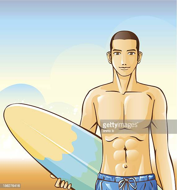 man holding surfboard on beach - masculinity stock illustrations, clip art, cartoons, & icons