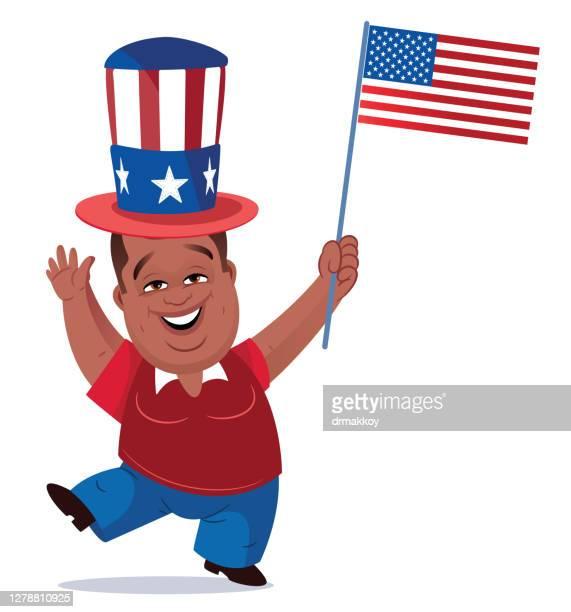 ilustrações, clipart, desenhos animados e ícones de homem segurando a bandeira dos eua - usa