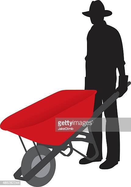 man holding wheelbarrow silhouette - wheelbarrow stock illustrations, clip art, cartoons, & icons