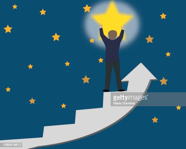 man holds the star.business.vector - selfless stock illustrations