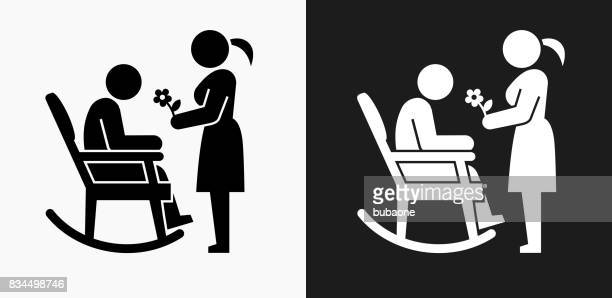 man icon on black and white vector backgrounds - senior citizen clipart stock illustrations