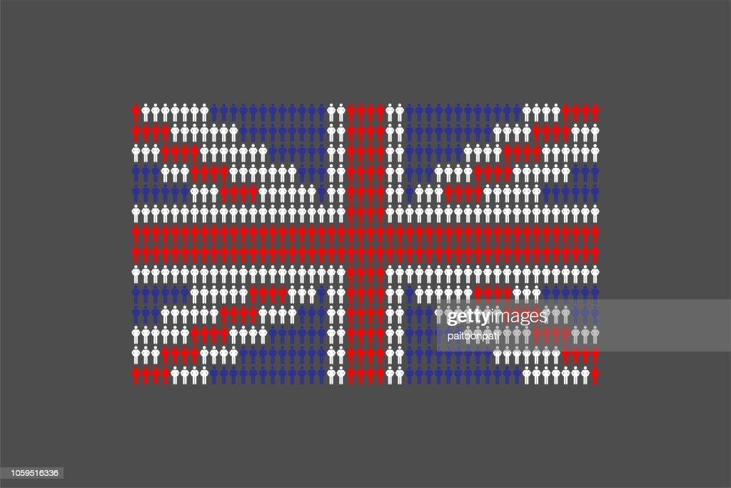 Man icon pictogram in row, United Kingdom national flag shape concept design illustration isolated on white background