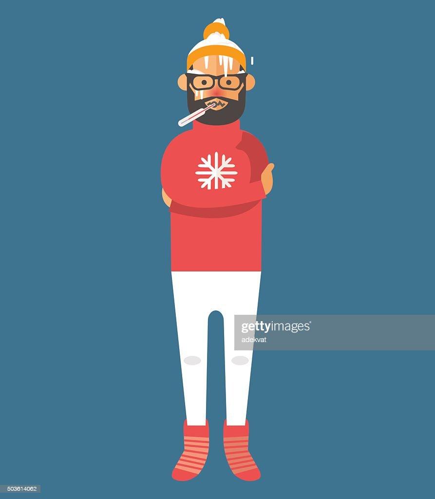 Man illness vector illustration