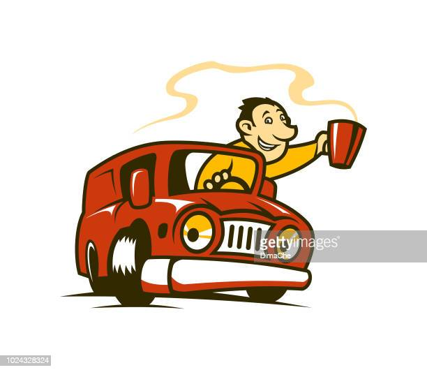 man in a car with cup of hot coffee or tea - cartoon character - breakfast cartoon stock illustrations