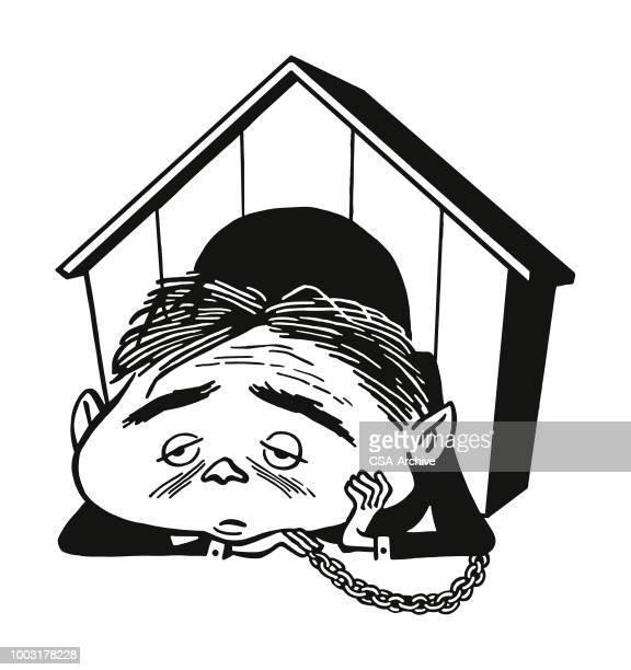 ilustraciones, imágenes clip art, dibujos animados e iconos de stock de hombre en una casa de perro - caseta de perro