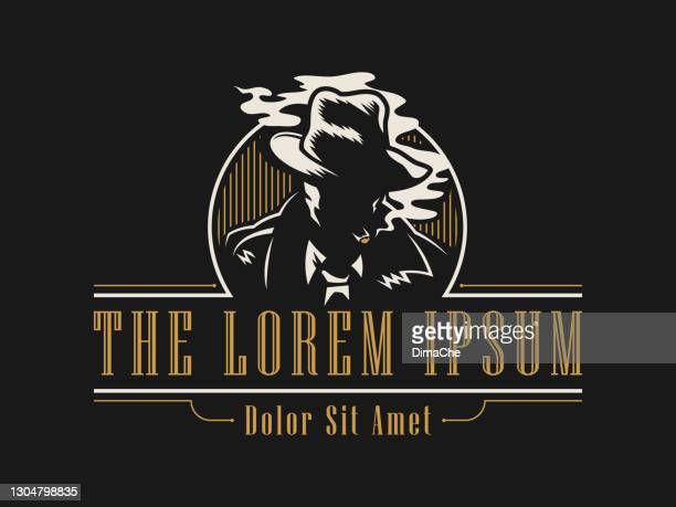 man in a hat smokes a cigar cut out silhouette - vintage style emblem - gangster stock illustrations