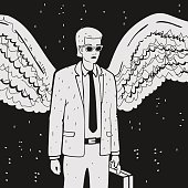 Man in a suit with wings