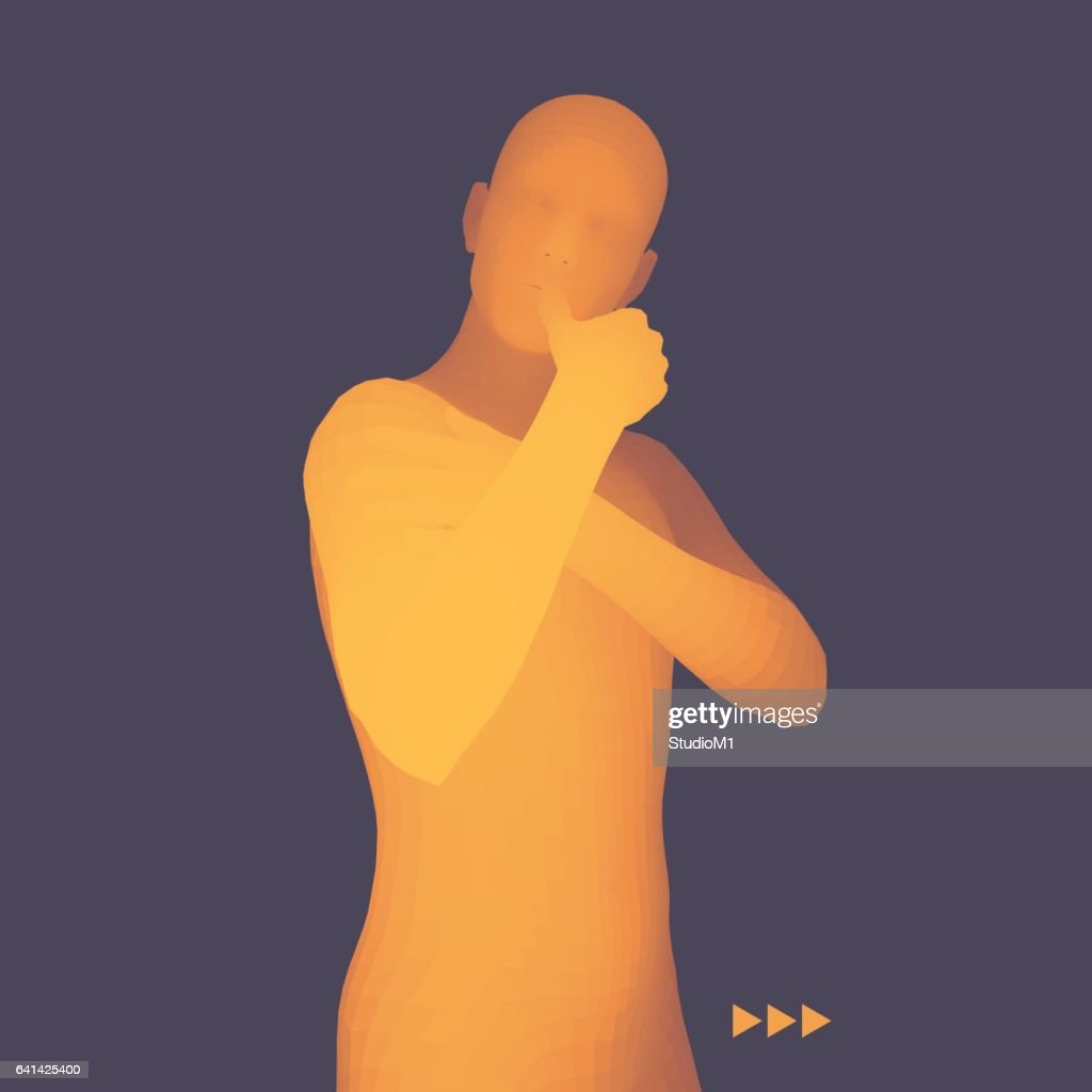 Man in a Thinker Pose. 3D Model of Man. Philosophy Illustration.