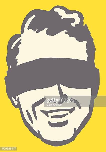 ilustraciones, imágenes clip art, dibujos animados e iconos de stock de hombre de venda de ojos - ojos tapados