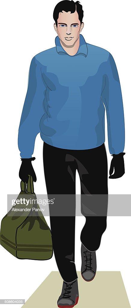 Homem em azul camisola : Arte vetorial