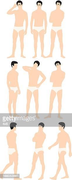 ilustraciones, imágenes clip art, dibujos animados e iconos de stock de hombre en convocatorias lleva gafas - encuadre de cuerpo entero