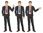 Man in business suit with tie. Handsome guy, gesturing. Elegant businessman in different poses. Stock vector.