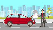 Man in Car Accident Vector Cartoon Illustration