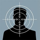 Man in crosshairs