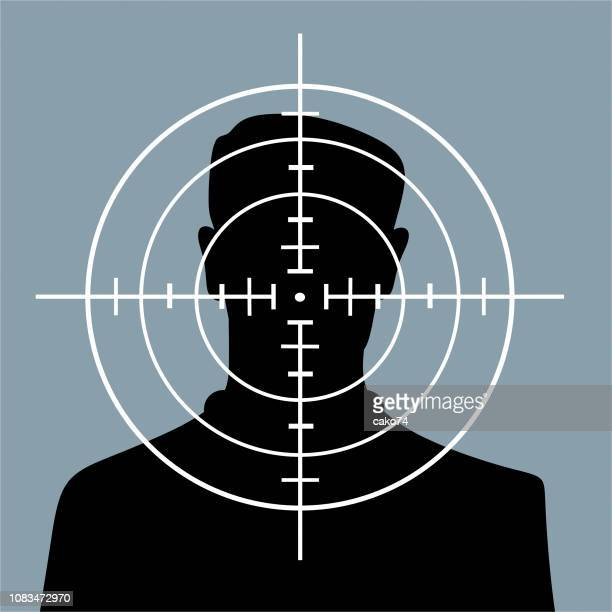 man in crosshairs - aiming stock illustrations