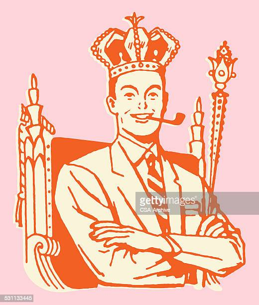 man in crown is king dad - fathers day stock illustrations