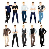 man in different clothes and pose