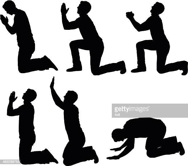 man in different praying poses - forgiveness stock illustrations, clip art, cartoons, & icons