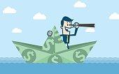 Man in dollar boat