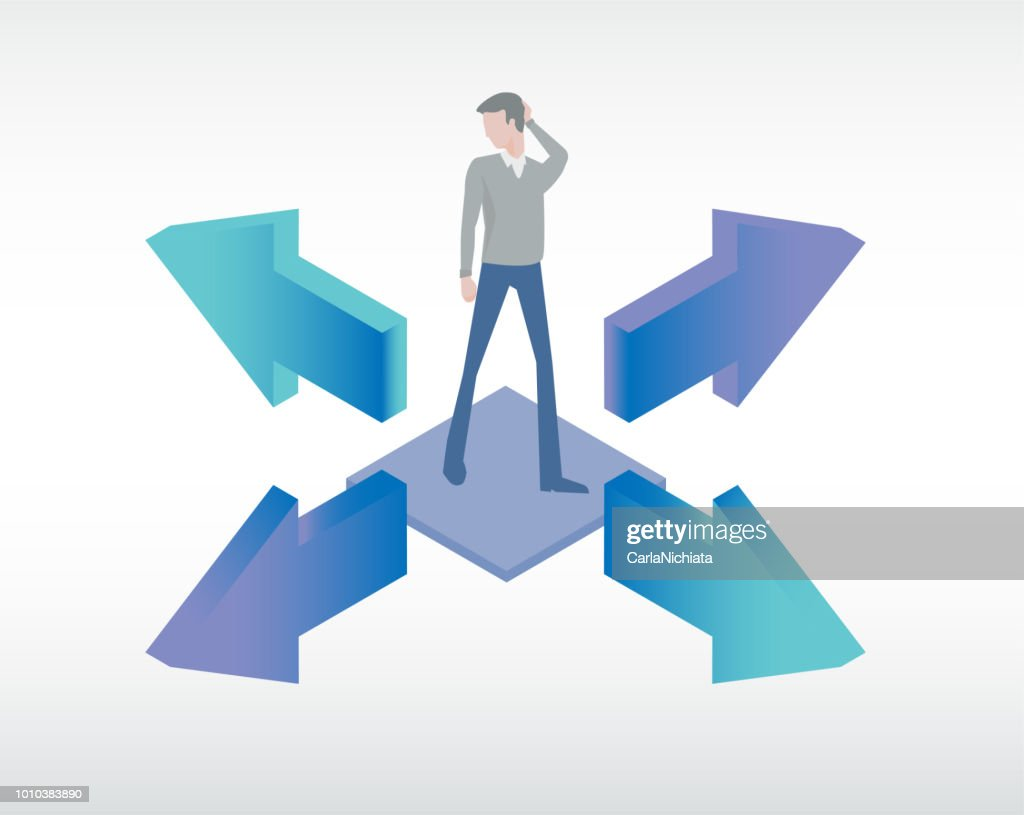 Man in doubt choosing the best way to solve a problem. Business solution concept vector illustration.