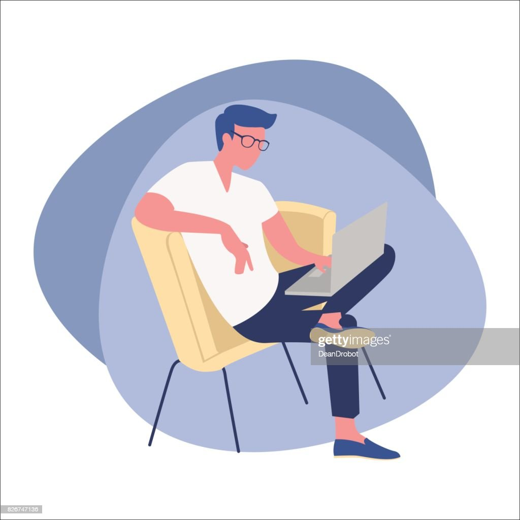 Man in eyeglasses sitting on a chair and working on a laptop. Flat icon vector illustration