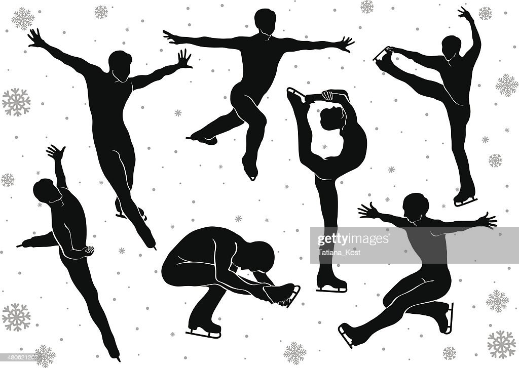 Man in figure skating vector silhouettes in motion on  ice