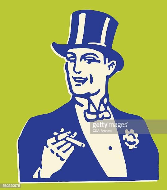 Man in Formal Tuxedo Smoking